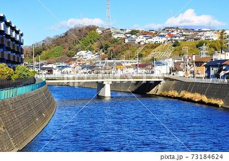 神奈川県藤沢市 片瀬山の町並みと境川と新屋敷橋 73184624