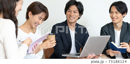 オフィスのソファでミーティングをする若い4人の男女 バナーサイズ 73186124
