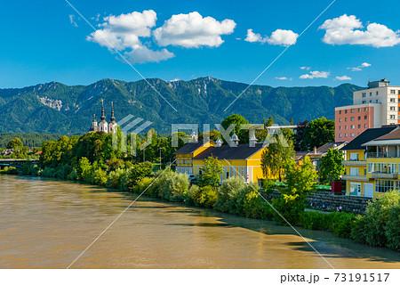 View of a small Alpine city of Villach, Austria 73191517