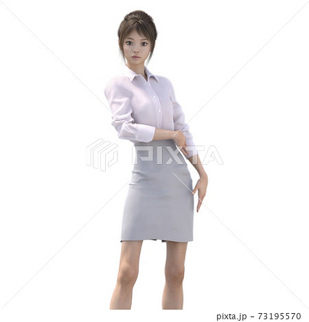 ポーズするビジネススーツの女性 perming3DCGイラスト素材 73195570