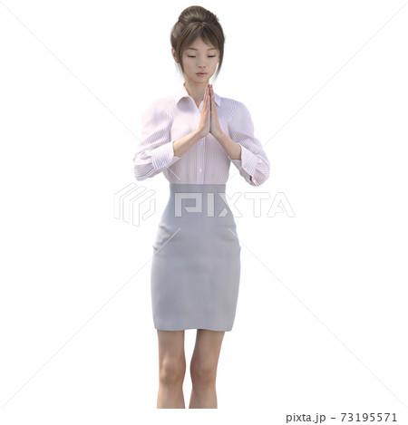 ポーズするビジネススーツの女性 perming3DCGイラスト素材 73195571