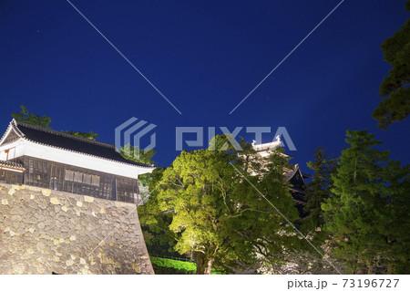 島根県松江城ライトアップの天守閣と星空 73196727