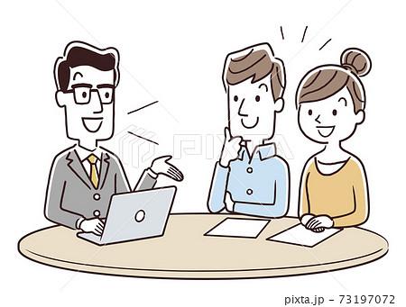 ベクターイラスト素材:男性スタッフから説明を受けるカップル、夫婦 73197072
