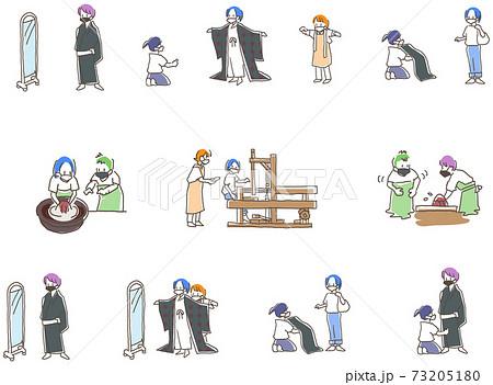奄美大島紬の体験イラスト マスク付き 73205180