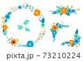 花と葉の装飾フレームセット 手描きテイスト 73210224