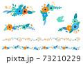 花と葉の装飾フレームセット 手描きテイスト 73210229