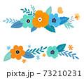 花と葉の装飾フレームセット 手描きテイスト 73210231