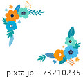 花と葉のフレーム 手描きテイスト 73210235
