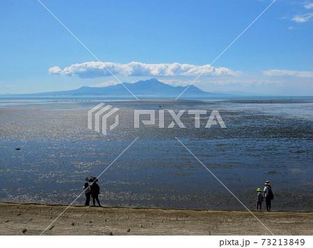 有明海の広大な干潟を訪れる人々 (熊本県宇土半島) 73213849