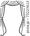 レトロなカーテン 手描きタッチ 線画 73223613