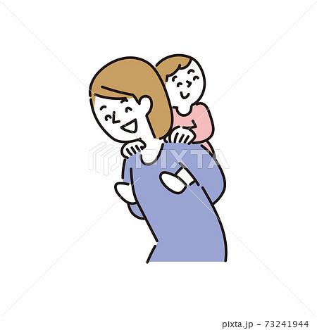 母親に背負われて幸せな気分の子ども 73241944