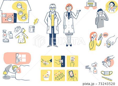 感染症予防対策 自宅療養イメージ セット 73243520