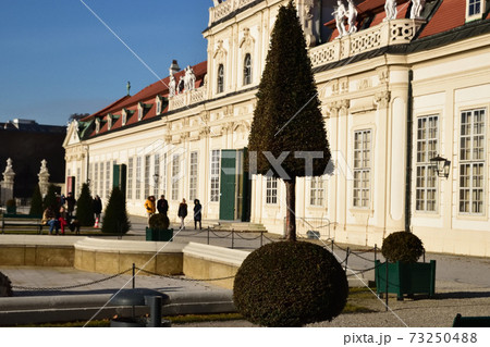 ベルヴェデーレ宮殿の手入れされた庭 73250488