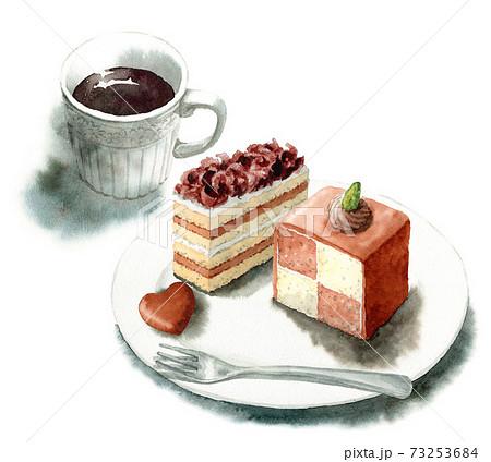 アナログ水彩2種類のチョコレートケーキとコーヒー 73253684