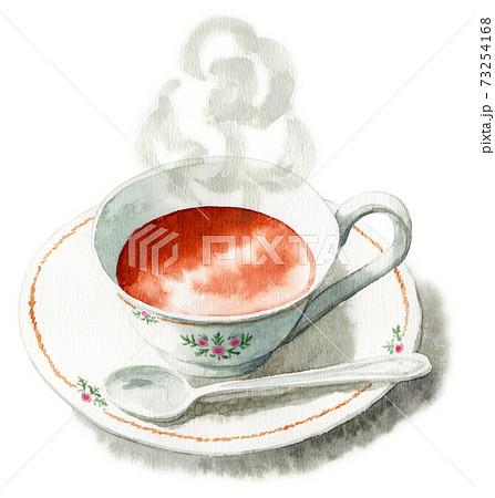 アナログ水彩ティーカップに注がれた紅茶 73254168