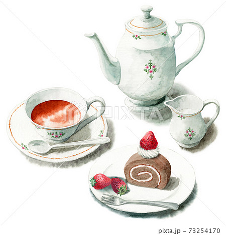 アナログ水彩ケーキセット紅茶ココアロール 73254170