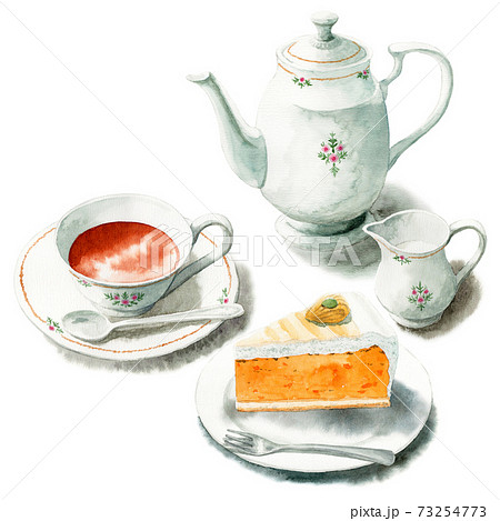 アナログ水彩ケーキセット紅茶とパンプキンタルト 73254773