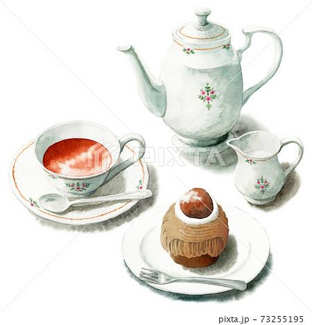 アナログ水彩ケーキセット紅茶とモンブラン 73255195
