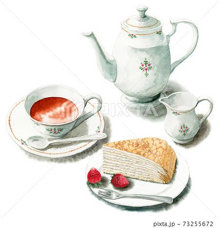 アナログ水彩ケーキセット紅茶ミルクレープ 73255672