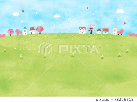 明るい草原と桜の木の街並み 73256218