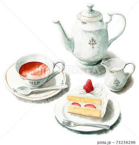 アナログ水彩紅茶といちごショートケーキ 73256296