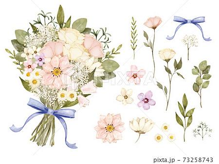 ナチュラルな花のブーケ 水彩イラスト ベクター素材 73258743