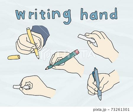 書いている手の手描きイラストのセット 書く 描く 線 おしゃれ 持つ 鉛筆 ペン 73261301