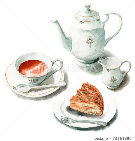 アナログ水彩ケーキセット紅茶とアップルパイ 73261896