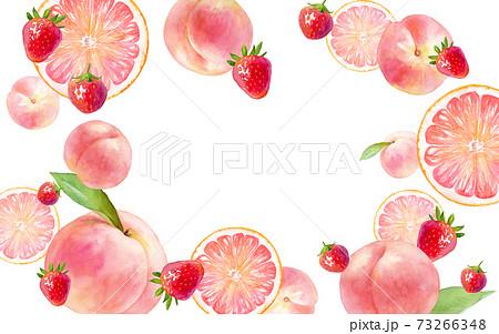 ピンク色のジューシーなフルーツで囲んだフレームデザイン。水彩イラスト。ピーチ、イチゴ、ピンクグレープ 73266348