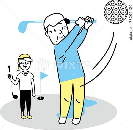 ゴルフをするシニア男女 73266420