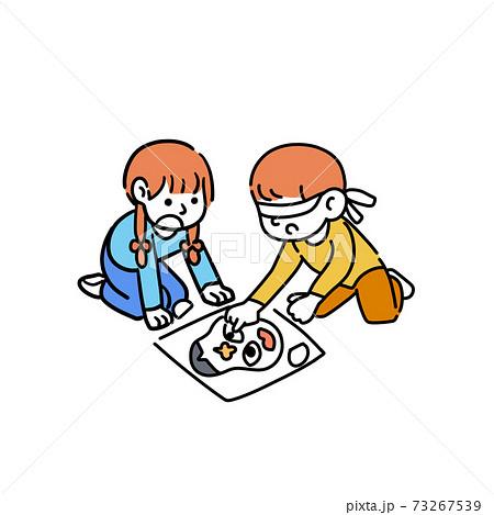 イラスト 節分 福笑い 男の子 女の子 イベント 73267539