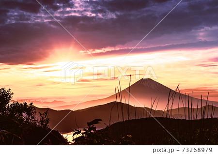 箱根大観山から望む夕日に染まる富士 73268979