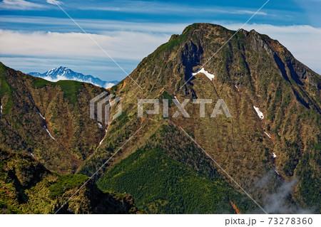 初夏の八ヶ岳連峰・阿弥陀岳と残雪の北岳 73278360