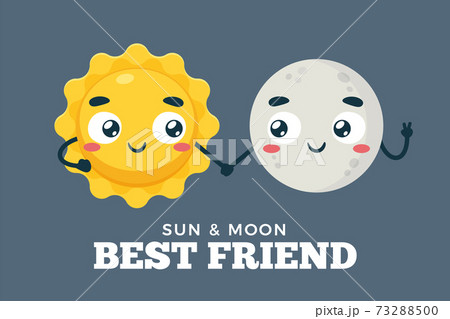 The Sun and moon is holding hand together. Isolated Vector Illustration 73288500
