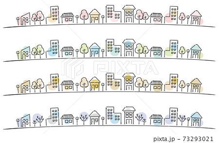 ペンで書いたような手書き線画の町並み 水彩風 季節 四季 73293021
