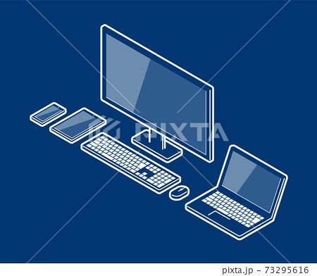 アイソメトリック風 PC 電子機器 セット 73295616
