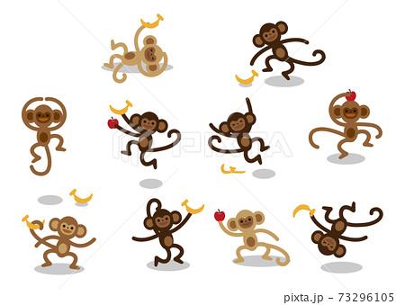 猿 表情 セット イラスト 73296105