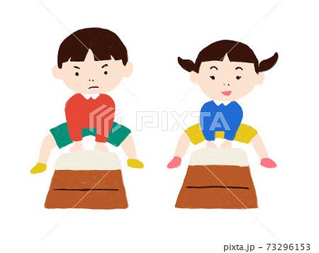 跳び箱する男の子と女の子 73296153