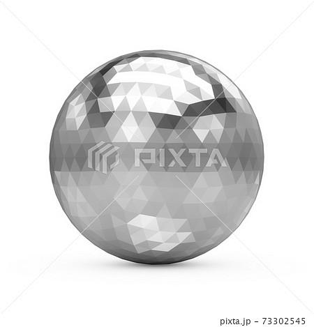 3d Rendering Metallic Polygonal Chrome Sphere on white background 73302545