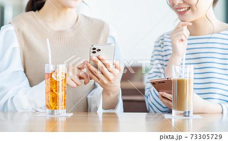 カフェでスマホを見る若い女性 73305729