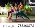 Asian weman group do yoga in city at night 73308878