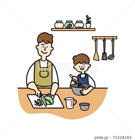 笑顔で一緒に料理をする父と息子 73328163