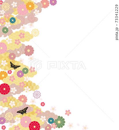 和柄背景-桜と蝶5 73341229