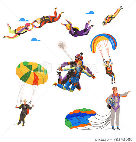 Paratroopers or Parachutist Free-falling and Descenting with Parachutes Vector Set 73343006