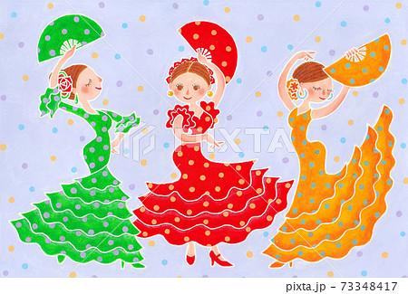 カラフルな水玉のドレスでフラメンコを踊る三人の女の子 73348417