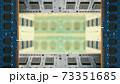 デスクトップパソコン用増設メモリで囲んだフレーム。ボケた基板のコピースペース。8Kサイズ。 73351685