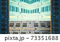 デスクトップパソコン用増設メモリで囲んだフレーム。ボケた基板のコピースペース。8Kサイズ。 73351688