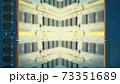 デスクトップパソコン用増設メモリで囲んだフレーム。ボケた基板のコピースペース。8Kサイズ。 73351689