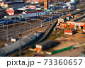 Panoramic view of the railway junction of the city with the effect of tilt-shift in Moscow 73360657