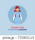 Medical woman thanks essential workers 73363113